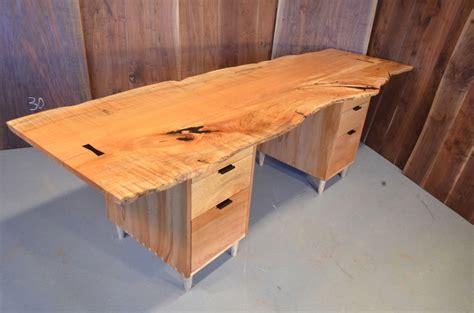 Handcrafted Desk - burled maple slab executive desk with sycamore pedestal base