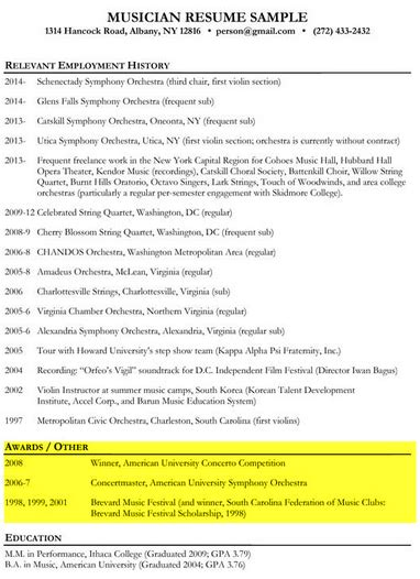 awards in resume exles exles of resumes
