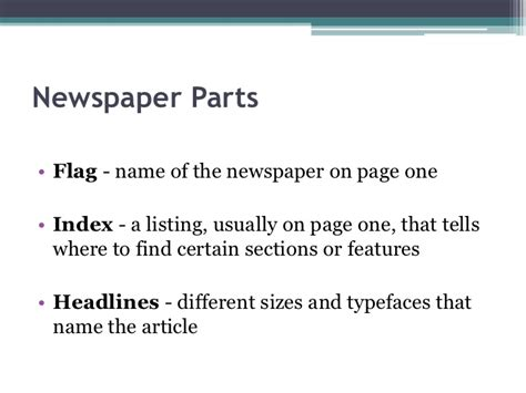 name a section of the newspaper newspaper by deckerm2 s