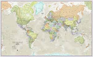 classic map of the world wall hanging by maps