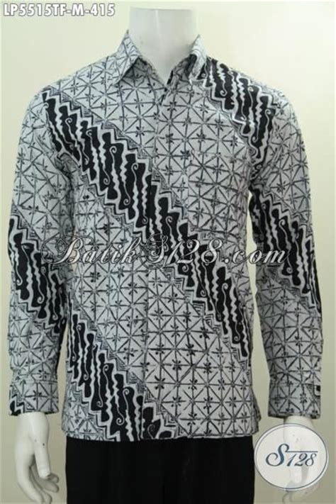 Kemeja Pria Spark Lp Putih hem batik hitam putih lengan panjang size m pakaian batik