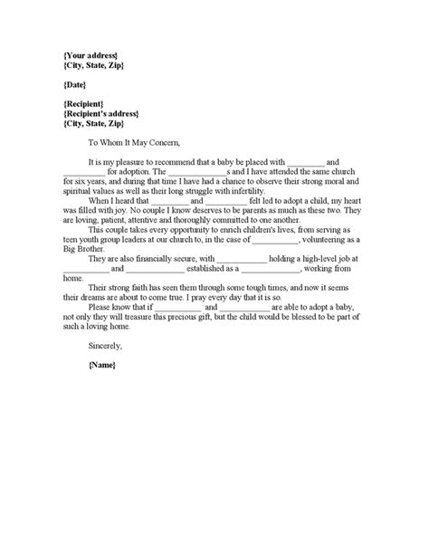 letter of recommendation for adoption template letter of recommendation for adoptive parents letter of