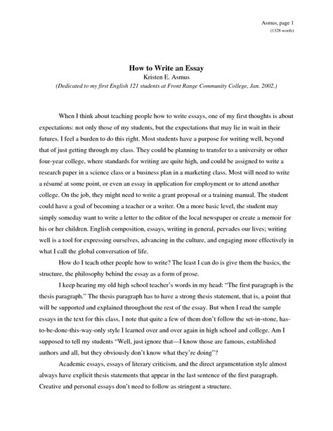 Writing An Essay In College by How To Write An Essay Obfuscata