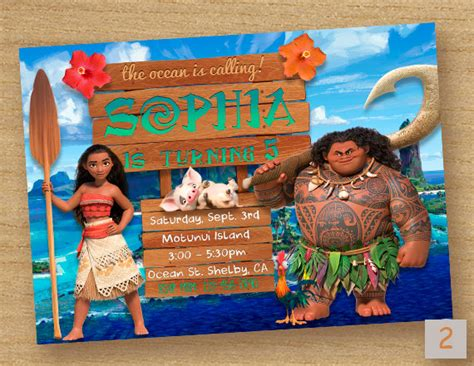 Moana Birthday Card Template by Moana Invite Moana Birthday Invitation Moana By