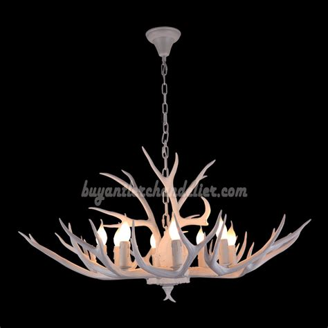 8 Whitetail Deer Antler Chandelier Pure White Ceiling Deer Antler Ceiling Lights
