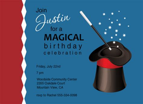 free printable birthday invitations magic theme magic show invitations blue and red magic hat birthday