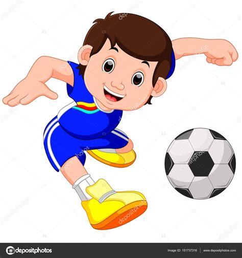 imagenes de niños jugando futbol animados dibujos animados de ni 241 o jugando al f 250 tbol vector de