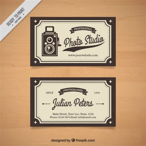 vintage photography business card templates photo studio card with a vintage vector free