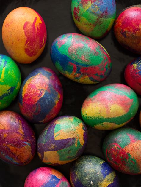 painterly dyed easter eggs spoon fork bacon