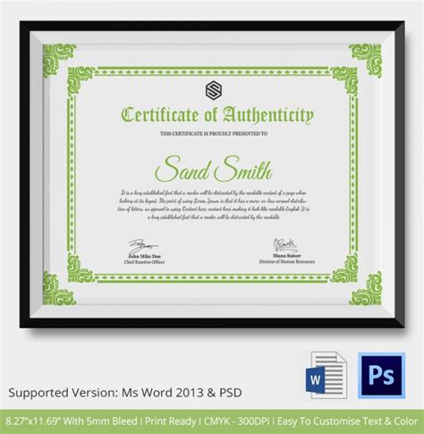 simple certificate template certificate of authenticity template