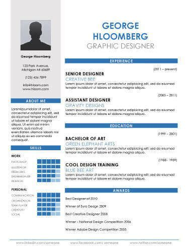 17 Infographic Resume Templates Free Download Two Column Resume Template