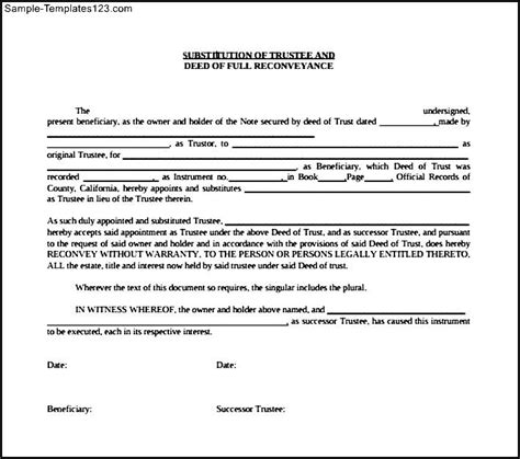 Deed Of Conveyance Template substitution of trustee and deed of re conveyance form sle templates