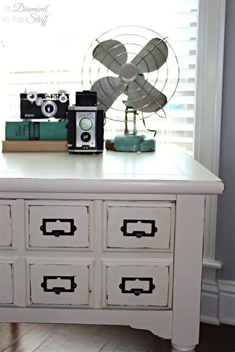 faux card catalog side table