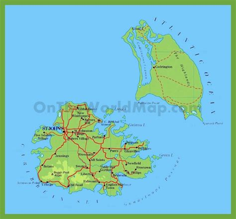 printable road map of antigua road map of antigua and barbuda