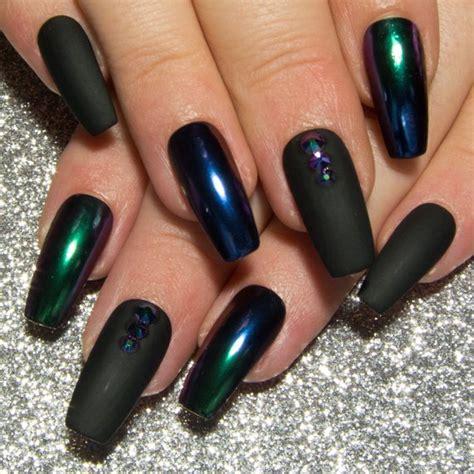 Grau Lackierte Nägel by Matte Black Chrome Nails Ombre Mirror Nails Coffin False