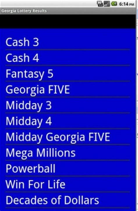 ga lottery app for android lottery results android