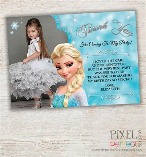 frozen themed birthday messages frozen thank you card frozen birthday party by
