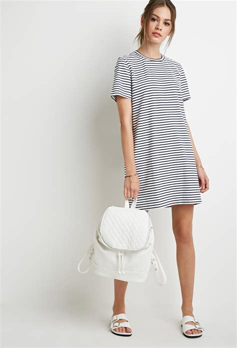 Striped T Shirt Dress forever 21 striped t shirt dress in blue lyst