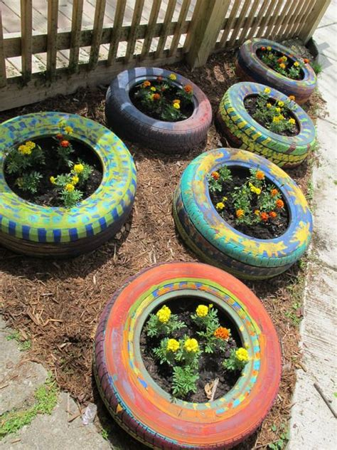 tire flower beds tires repurposed into flower beds by the kids of ace2