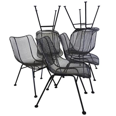 Wrought Iron Dining Chairs For Sale Best Set Of 12 Restored Woodard Wrought Iron With Mesh Dining Chairs For Sale At 1stdibs