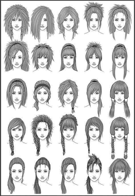 long bob hairstyles drawings women s hair set 3 by dark sheikah on deviantart