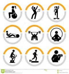 Weight Bench Prices Set Of Fitness Pictograms In Semicircles Stock Photo