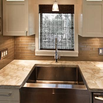 glossy cafe au lait upper cabinets in small space kitchen taupe kitchen backsplash transitional kitchen trish