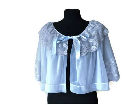 vintage baby blue bed jacket size s just vintage