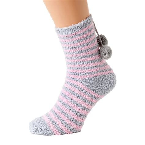 Bed Socks by Womens Luxury Supersoft Two Pack Pink Striped Bed