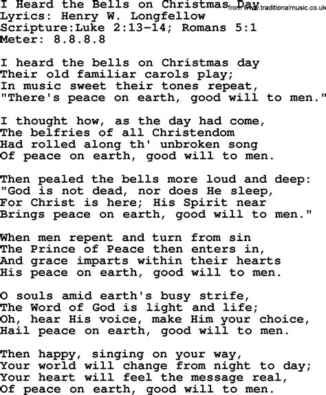 good old hymns i heard the bells on christmas day