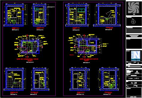 detalle banos completo en autocad descargar cad  mb