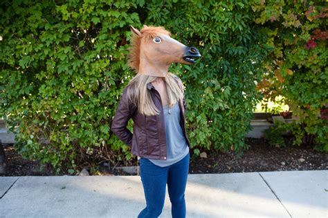 Girl Wearing Horse Head Mask | horses with hobbies costumes see jane blog