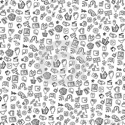 icon pattern background free social media icon pattern background doodle stock vector