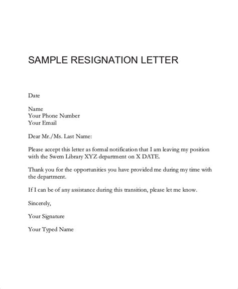 23 simple resignation letters free premium templates