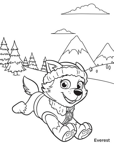 coloring page paw patrol everest free printable paw patrol coloring pages for kids
