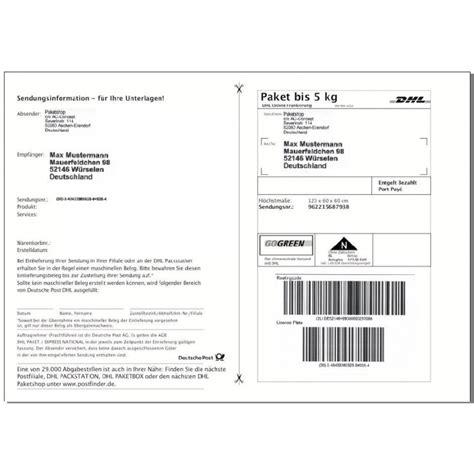 Post Etiketten by 200 Dhl Versandetiketten Paketaufkleber Selbstklebende
