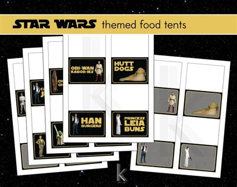 Star Wars Themed Party Food Label Tent Cards Printable File Wars Food Labels Template Free