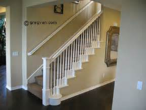 white painted stair handrail