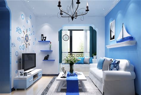 fashion simple blue living room interior design 3d mediterranean style rendering blue living room interior