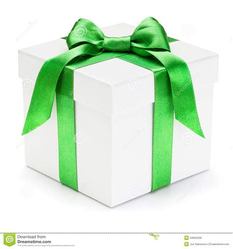 photo presents gift box with green ribbon and bow stock photo image