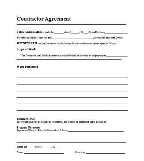 contract agreement template microsoft word templates