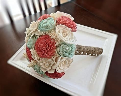 Handmade Bouquet - handmade wedding bouquet medium coral mint ivory bridal