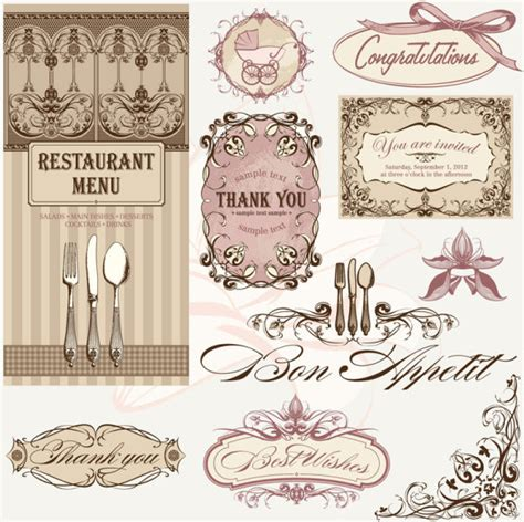 design menu vintage vintage restaurant menu design elements vector free vector