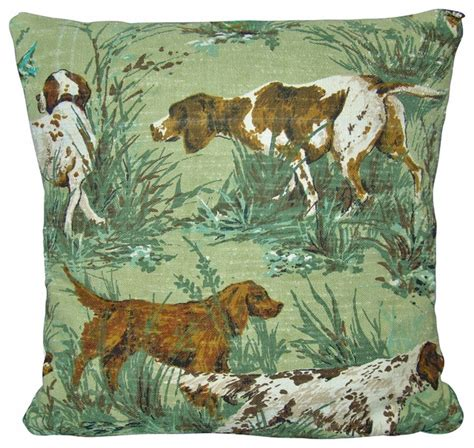 fox hunting decor for the home hunting pillow cover barkcloth quot the hunt quot fox hunt vintage