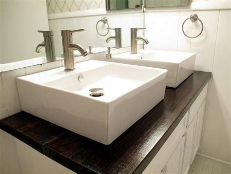 Vessel Sink Countertops White Vessel Sinks And Stained Wood Countertop Live The