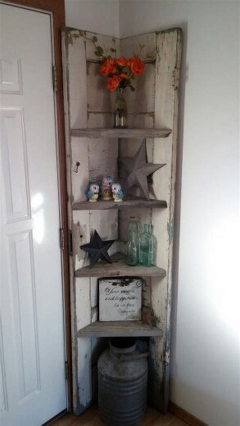Using Old Doors In The Garden Turn An Old Door Into A Corner Shelf Diy Projects For