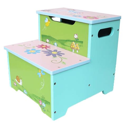 Step Stool Storage Box by Painted Flower Step Stool Ladder W Storage Box Buy