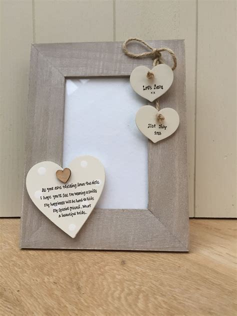Shabby personalised Chic Photo Frame Wedding Day Gift For