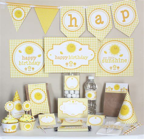 printable party decorations birthday stockberry studio my little sunshine birthday printable