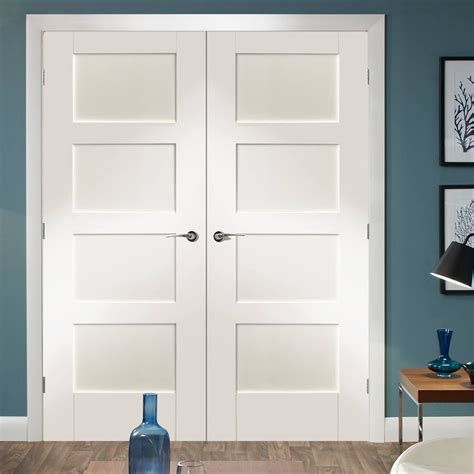 shaker  pane white primed door pair